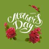 Giorno di madri felice Il testo ed il fiore dell'iscrizione della cartolina d'auguri sono aumentato Fotografia Stock Libera da Diritti