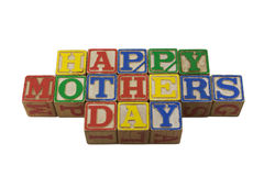 Giorno di madri felice nei blocchetti del alpabet dell'annata Immagine Stock Libera da Diritti