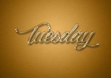 Giorno di martedì dei precedenti di titolo dell'oro di settimana immagine stock
