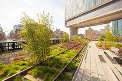 Giorno di molla soleggiato sull'alta linea di New York Immagine Stock