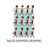 giorno 12 di natale - un rullo del tamburo di dodici batteristi Immagine Stock