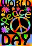 Giorno di pace di mondo con il simbolo internazionale di pace, disarmo, movimento pacifista Progettazione di arte della via di le Immagine Stock