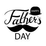Giorno di padri che segna progettazione con lettere calligrafica isolata su fondo bianco Fotografie Stock Libere da Diritti
