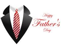 Giorno di padri felice, cartolina d'auguri con il cappotto e cravatta illustrazione vettoriale