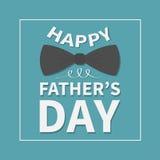 Giorno di padri felice Cartolina d'auguri con il grande farfallino nero del collo Linea quadrata struttura Priorità bassa per una illustrazione di stock