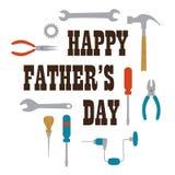 Giorno di padri felice con gli strumenti illustrazione di stock