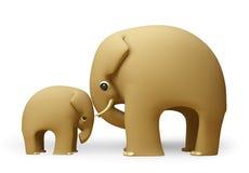 giorno di padri felice dell'elefante 3D Fotografie Stock Libere da Diritti