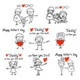 Giorno di padri felice di concetto del fumetto del disegno della mano Fotografia Stock