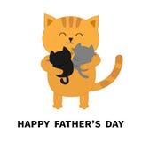 Giorno di padri felice Gatto che abbraccia il piccolo gattino del bambino due Gattini sulle mani Abbraccio di Kitty Famiglia dive illustrazione vettoriale