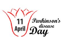 Giorno di Parkinson del mondo Tulipano e testo rossi Fotografia Stock Libera da Diritti