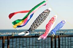 Giorno di pesca Cono di vento variopinto nell'esposizione Fotografia Stock