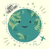 Giorno di pianeta Terra felice, il 22 aprile carta Globo sorridente royalty illustrazione gratis