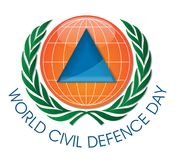 Giorno di protezione civile del mondo sul logo del mondo Fotografie Stock Libere da Diritti
