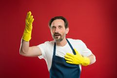 Giorno di pulizia oggi Casa barbuta di pulizia del tipo In guardia di pulizia e di ordine Dovere di pulizia della famiglia e di s immagini stock libere da diritti