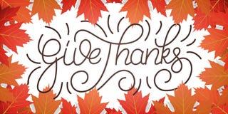 Giorno di ringraziamento Dia i ringraziamenti che segnano e le foglie di autunno di caduta Fondo di giorno di ringraziamento Immagini Stock