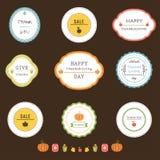 Giorno di ringraziamento ed etichette e bolli del raccolto Fotografia Stock