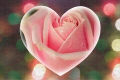 Giorno di S. Valentino delle rose nel cuore di forma Immagine Stock