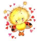Giorno di S. Valentino e coccinella sveglia, cuore rosso illustrazione vettoriale
