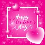 Giorno di S. Valentino felice, testo di San Valentino con il fondo rosa del bokeh illustrazione di stock