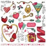Giorno di S. Valentino, struttura di nozze, elementi della decorazione Fotografia Stock Libera da Diritti