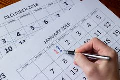 Giorno di segno della mano primo di gennaio, iniziante nuovo anno fotografie stock libere da diritti