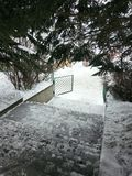 Giorno di Snowy in Armenia Tsaxkadzor Fotografie Stock