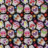 Giorno di Sugar Skull Seamless Vector Background morto Fotografia Stock