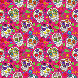 Giorno di Sugar Skull Seamless Vector Background morto Fotografie Stock