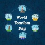 Giorno di turismo di mondo, il 27 settembre illustrazione di stock
