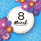 Giorno di Violet Happy Women s 8 marzo Giorno d'avanguardia della madre s Cartolina d'auguri floreale tagliata carta Fiori di ori illustrazione di stock