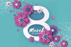 Giorno di Violet Happy Women s 8 marzo viola Giorno d'avanguardia della madre s Cartolina d'auguri floreale tagliata carta Fiori  royalty illustrazione gratis