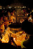 Giorno di Wesak al tempiale buddista di Maha Vihara Immagine Stock