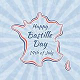 Giorno e 14 luglio di Bastille felici illustrazione di stock
