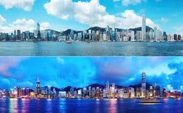 Giorno e notte dell'orizzonte di Hong Kong Immagini Stock Libere da Diritti