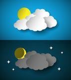 Giorno e notte, illustrazione di carta tagliata di vettore di stile Fotografie Stock Libere da Diritti