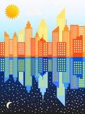 Giorno e notte moderni dell'orizzonte dei grattacieli della città Immagine Stock Libera da Diritti