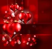 Giorno elegante Flayer del biglietto di S. Valentino dell'oro e di colore rosso Fotografia Stock