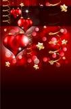 Giorno elegante Flayer del biglietto di S. Valentino dell'oro e di colore rosso Fotografia Stock Libera da Diritti