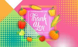 Giorno felice Autumn Traditional Holiday Greeting Card di ringraziamento Fotografia Stock