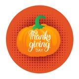 Giorno felice Autumn Traditional Holiday Greeting Card di ringraziamento illustrazione di stock