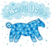 Giorno felice con il cavallo blu Fotografie Stock