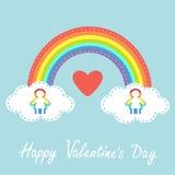 Giorno felice dei biglietti di S Cuore rosso Scheda di amore Arcobaleno nel cielo Linea nuvola del un poco Siluetta LG della donn Fotografia Stock