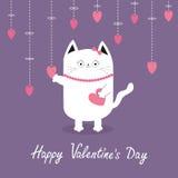 Giorno felice dei biglietti di S Gatto bianco che appende i cuori rosa Linea del un poco Personaggio dei cartoni animati sveglio  Fotografie Stock
