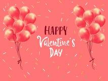 Giorno felice dei biglietti di S Gruppo realistico dei palloni impulso 3d isolato su fondo rosa Manifesto romantico, cartoline d' illustrazione di stock