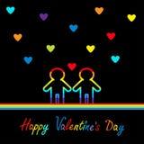 Giorno felice dei biglietti di S Scheda di amore Il simbolo due di orgoglio di matrimonio gay contorna la linea icona dell'arcoba Fotografie Stock Libere da Diritti