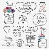 Giorno felice del biglietto di S Insieme di retro elementi d'annata di Valentine Day Labels And Typography Fotografia Stock Libera da Diritti