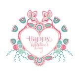 Giorno felice del `s del biglietto di S Fiori variopinti disegnati a mano intorno a cuore Blocco per grafici floreale romanzesco  royalty illustrazione gratis