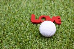 Giorno felice del ` s del biglietto di S. Valentino al giocatore di golf Fotografia Stock