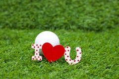 Giorno felice del ` s del biglietto di S. Valentino al giocatore di golf Immagine Stock