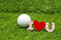 Giorno felice del ` s del biglietto di S. Valentino al giocatore di golf Immagine Stock Libera da Diritti